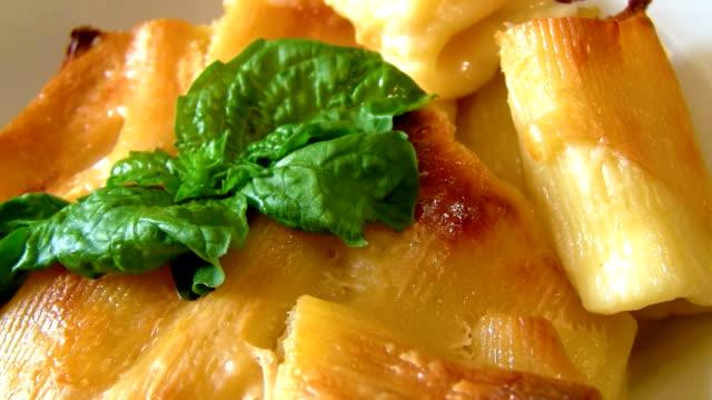 pasta al gratin - gratin stock videos & royalty-free footage