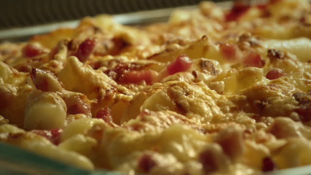 pasta and bacon in oven - gratin - close up - comfort food stock videos & royalty-free footage