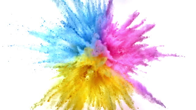 pastel pink, blue and yellow colored powder exploding towards camera in close up and super slow-motion, white background - three objects stock videos & royalty-free footage