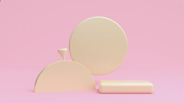 pastellrosa szene geometrisch gelbe form 3d rendering bewegung abstrakt - kegel stock-videos und b-roll-filmmaterial