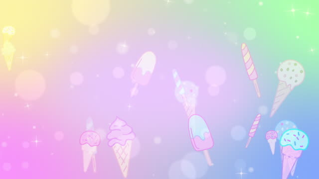 Pastel subtle looping ice cream bokeh background