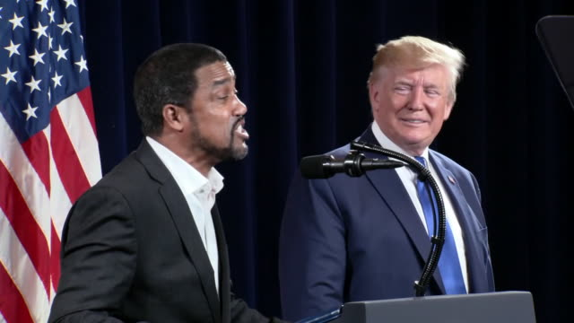 "pastor darrell scott says that ""courage is courageous"" during his remarks at the inaugural black voices for trump rally in atlanta, georgia. - pastor stock videos & royalty-free footage"