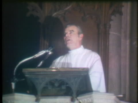 a pastor in new york city speaking from the pulpit talks of the feeling of world unity and gratitude for the safe return of the apollo 13 astronauts - pastor stock videos & royalty-free footage