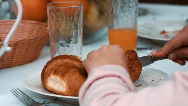 pastry for breakfast - croissant stock videos & royalty-free footage