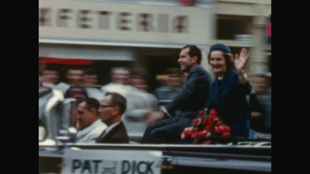pat and richard nixon ride in an open top car down court street in downtown binghamton, waving to onlookers, nixon giving speech in front of the... - richard nixon stock videos & royalty-free footage