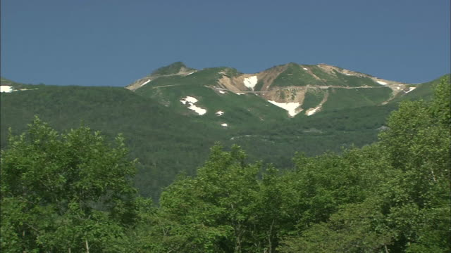 Patches of snow remain on the lush slopes of Mt. Norikura.