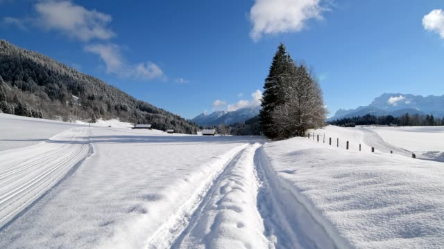 path and ski trail on morning in winter, gerold, garmisch-partenkirchen upper bavaria, bavaria, germany, european alps - werdenfelser land stock videos and b-roll footage