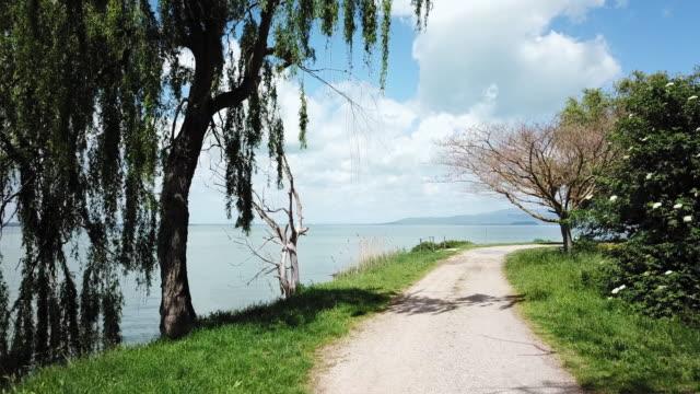vídeos de stock, filmes e b-roll de path around lake - umbria