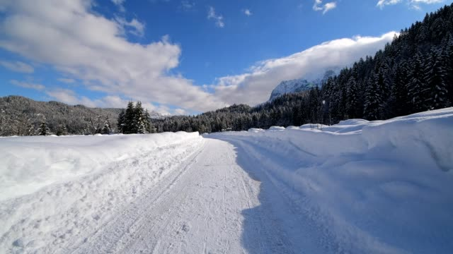 vídeos de stock, filmes e b-roll de path in winter, elmau, garmisch-partenkirchen, upper bavaria, bavaria, germany, european alps - montanhas wetterstein