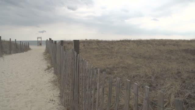 ビーチの小道 - オオハマガヤ属点の映像素材/bロール