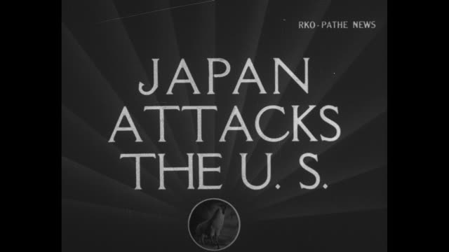 "pathe rooster and opening titles / title card: ""japan attacks the us, congress declares war"" / japanese ambassador to us kichisaburo nomura and... - pacific war video stock e b–roll"
