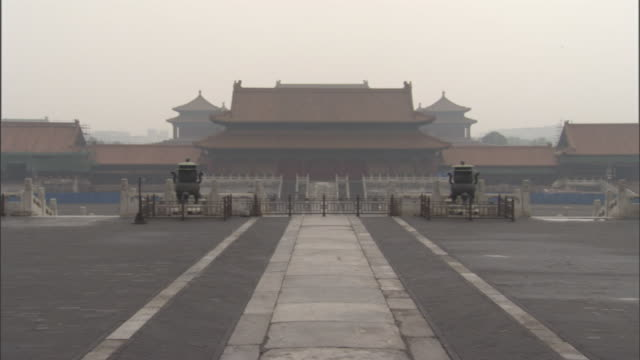 a pathway leads to a large pagoda in the forbidden city. - forbidden city stock videos & royalty-free footage