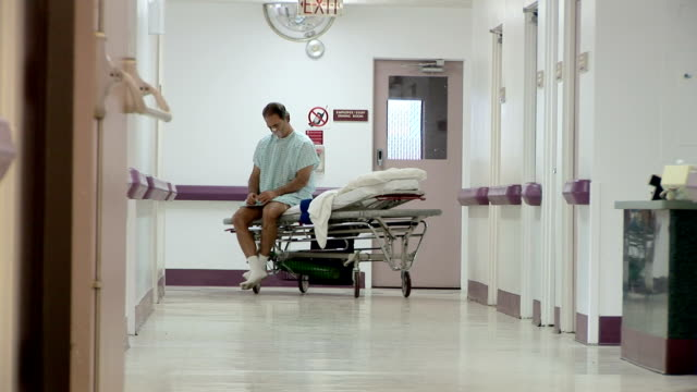 Patient on gurney in hospital