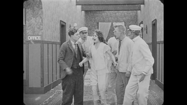 1918 patient (fatty arbuckle) pretends to be drowning to escape sanatorium - runaway stock videos & royalty-free footage
