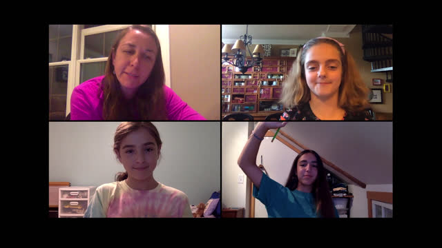 patient teacher quizzes female students about colors during art class via video call (audio) - art class stock videos & royalty-free footage