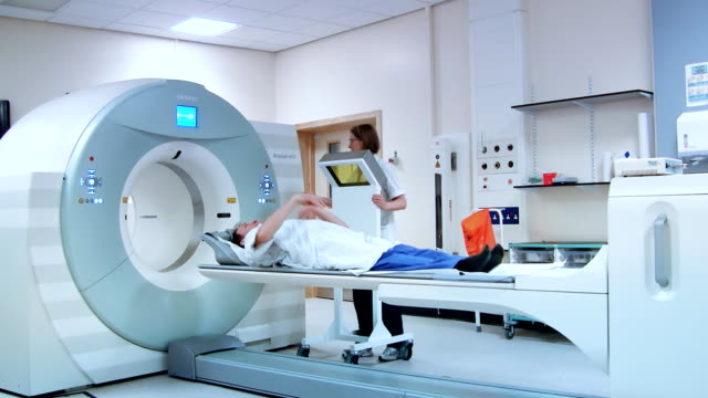 Patient undergoing PET-CT scan