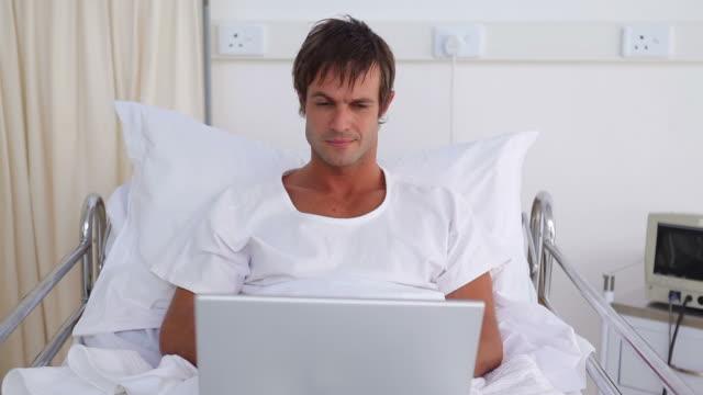 Patient using a laptop
