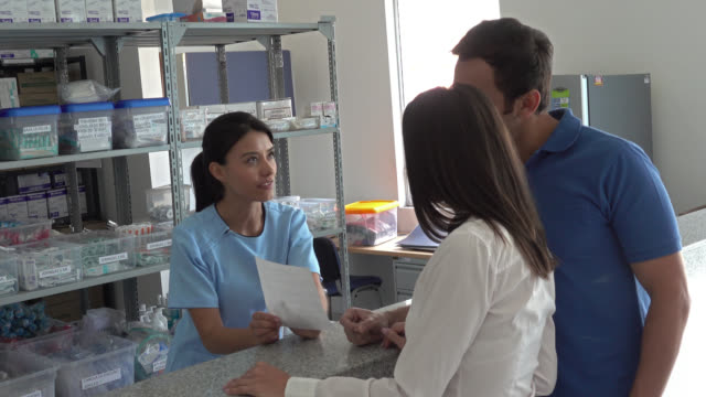 Patients arriving at a pharmacy to request medications