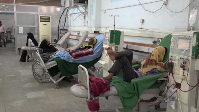 Patients getting kidney dialysis in hospital Hudaydah in Yemen