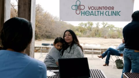 patients see doctors and nurses at free outdoor clinic - medical clinic stock videos & royalty-free footage