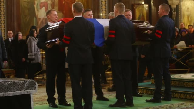 patriarch kirill of moscow and all russia conducts funeral service for russia's ambassador to turkey andrey karlov in christ the savior cathedral in... - assassination of andrei karlov stock videos & royalty-free footage