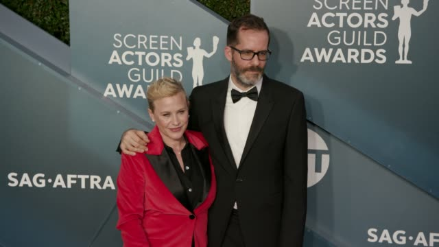 patricia arquette and eric white at the 26th annual screen actorsguild awards - arrivals at the shrine auditorium on january 19, 2020 in los... - patricia arquette stock videos & royalty-free footage