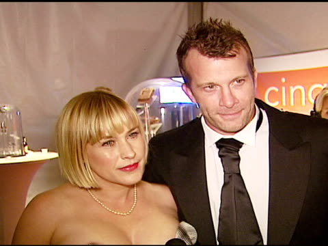 patricia arquette and thomas jane on the scottish / tartan theme of the evening on fashion week in la at the 'dressed to kilt' arrivals presented by... - tartan video stock e b–roll