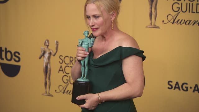 patricia arquette at 21st annual screen actors guild awards - photo room in los angeles, ca 1/25/15 - patricia arquette stock videos & royalty-free footage
