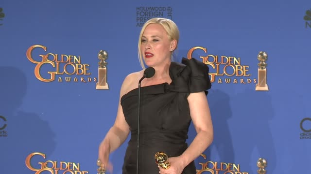 patricia arquette at 72nd annual golden globe awards - press room at the beverly hilton hotel on january 11, 2015 in beverly hills, california. - patricia arquette stock videos & royalty-free footage
