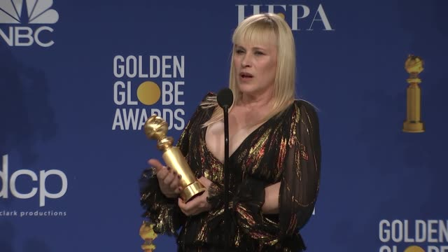 patricia arquette at 77th annual golden globe awards - press room at the beverly hilton hotel on january 05, 2020 in beverly hills, california. - patricia arquette stock videos & royalty-free footage