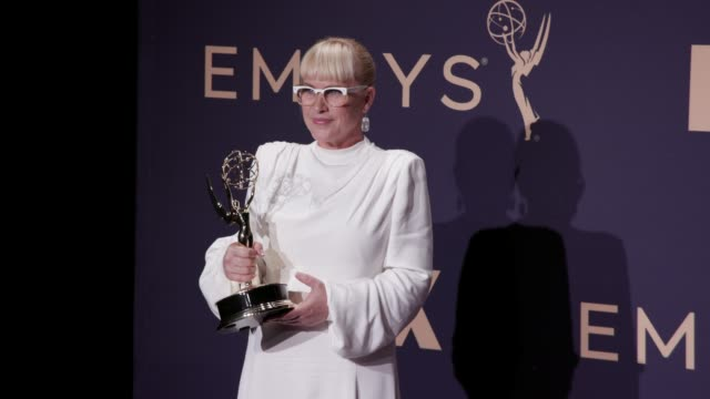 patricia arquette at the 71st emmy awards press room at microsoft theater on september 22 2019 in los angeles california - emmy awards stock videos & royalty-free footage