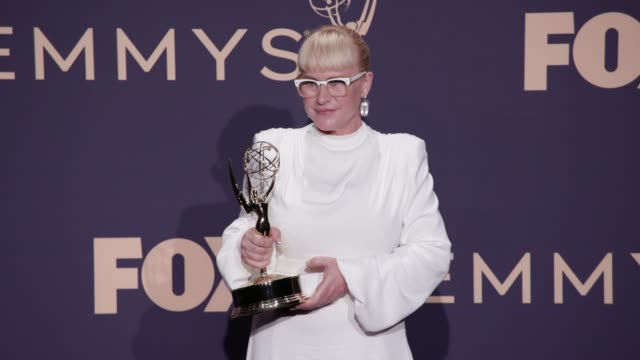 patricia arquette at the 71st emmy awards - press room at microsoft theater on september 22, 2019 in los angeles, california. - patricia arquette stock videos & royalty-free footage