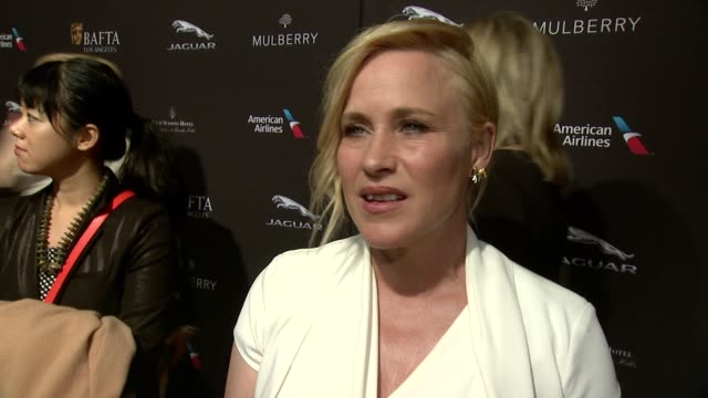 interview patricia arquette on being at the event on the strength of british actors on what makes the bafta tea party one of the most prestigious... - tea party stock videos and b-roll footage
