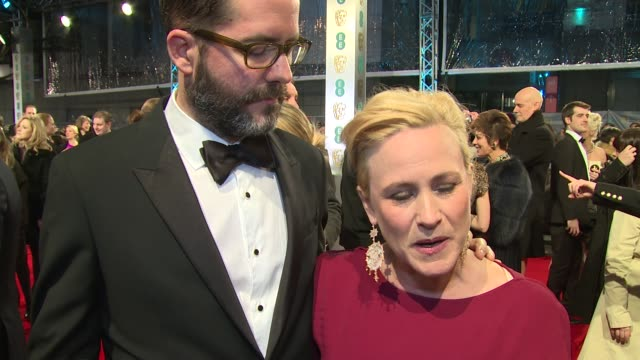 patricia arquette on the success of boyhood and being nominated for a bafta at the ee british academy film awards , london, england, february 8th 2015 - patricia arquette stock videos & royalty-free footage
