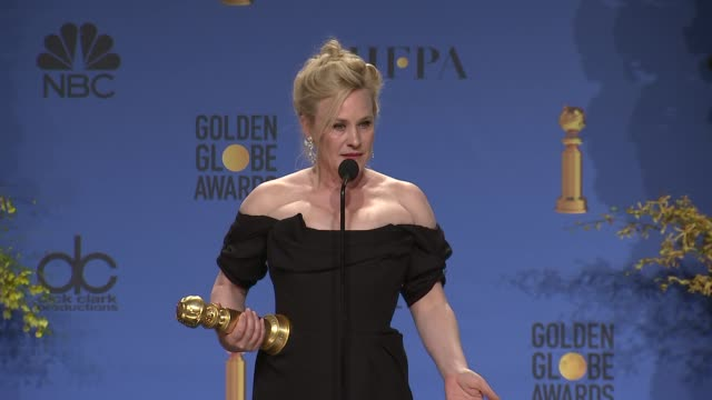patricia arquette on winning a golden globe at the 76th annual golden globe awards - press room at the beverly hilton hotel on january 06, 2019 in... - patricia arquette stock videos & royalty-free footage