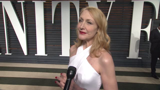interview patricia clarkson at the 2015 vanity fair oscar party hosted by graydon carter at wallis annenberg center for the performing arts on... - wallis annenberg center for the performing arts stock videos and b-roll footage