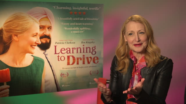 interview patricia clarkson on driving gandhi working with ben kingsley remembering to drive ben kingsley trust in her driving at 'learning to drive'... - ben kingsley stock videos and b-roll footage