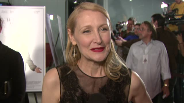 patricia clarkson on her character working with woody allen at the 'whatever works' premiere at west hollywood ca - woody allen stock videos & royalty-free footage