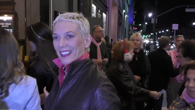 patricia ward kelly talks about her favorite christmas songs outside the pantages theatre in hollywood in celebrity sightings in los angeles, - パンテージスシアター点の映像素材/bロール