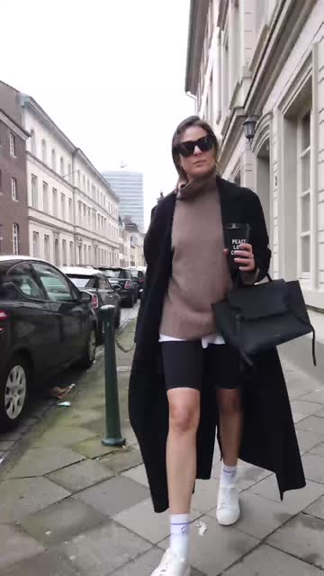 patricia wirschke, fashion influencer, art historian and ceo of high10art, is seen wearing max mara jacket in black, ann van berg pullover cashmere... - leggings stock videos & royalty-free footage