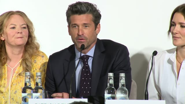 patrick dempsey on whether his character was a lover or a fighter to colin firth's at claridge's hotel on september 05, 2016 in london, england. - claridge's stock videos & royalty-free footage