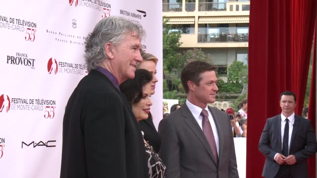 patrick duffy bianca jagger princess charlene of monaco eric close at the 55th monte carlo tv festival day 1 on june 15 2015 in montecarlo monaco - monaco royalty stock videos and b-roll footage