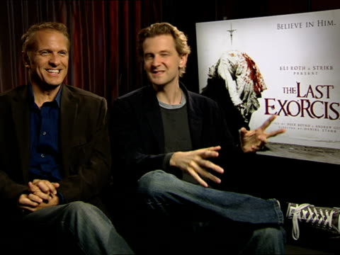 patrick fabian and daniel stamm on ashley's 'back-bending', re-writing the script at the the last exorcism - press junket at london england. - exorcism stock videos & royalty-free footage