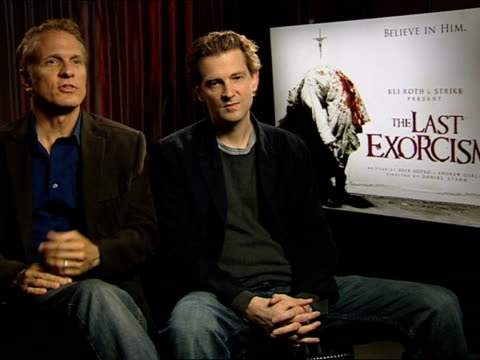 patrick fabian and daniel stamm on patrick's character, american tele-vangelists at the the last exorcism - press junket at london england. - exorcism stock videos & royalty-free footage