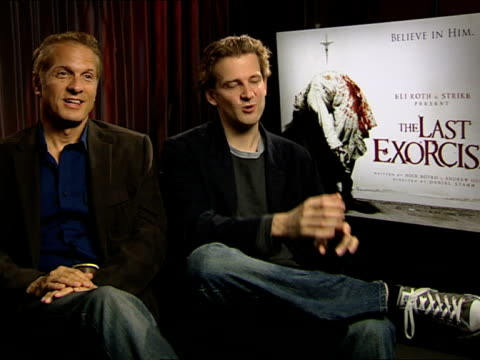 patrick fabian and daniel stamm on, 'she would have broken her fingers if we'd have asked her to'. at the the last exorcism - press junket at london... - exorcism stock videos & royalty-free footage