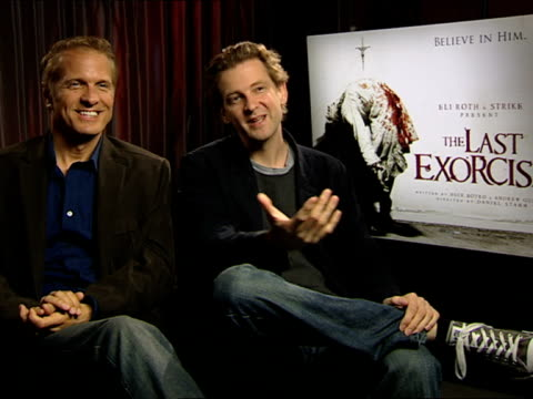 patrick fabian and daniel stamm on the casting, auditions at the the last exorcism - press junket at london england. - exorcism stock videos & royalty-free footage