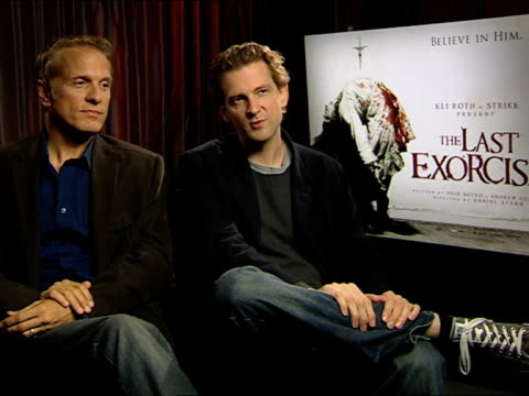 patrick fabian and daniel stamm on the film, the strength of the story at the the last exorcism - press junket at london england. - exorcism stock videos & royalty-free footage