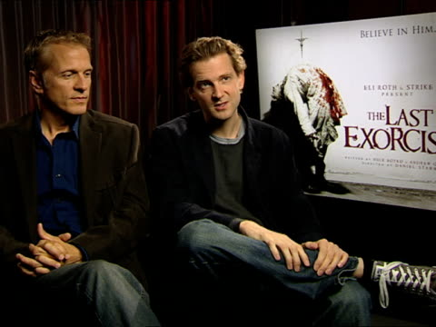 patrick fabian and daniel stamm on the film's location, voodo, religion at the the last exorcism - press junket at london england. - exorcism stock videos & royalty-free footage