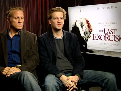 patrick fabian and daniel stamm on what fascinates daniel about this film, genre at the the last exorcism - press junket at london england. - exorcism stock videos & royalty-free footage