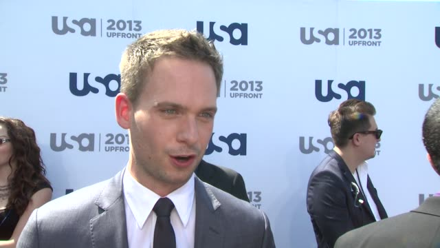 INTERVIEW Patrick J Adams on the 3rd season of Suits hot yoga classes and his summer blockbuster favs at USA Network 2013 Upfront Event at Pier 36 on...
